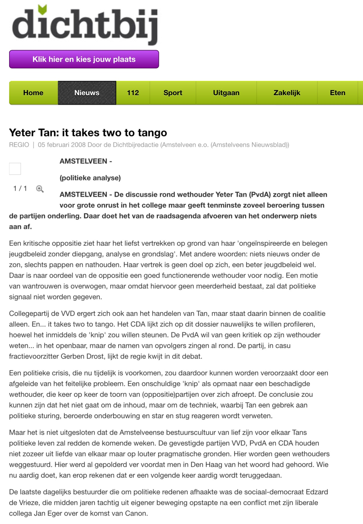 2008 AmstelveenDichtbij analyse over positie Yeter Tan
