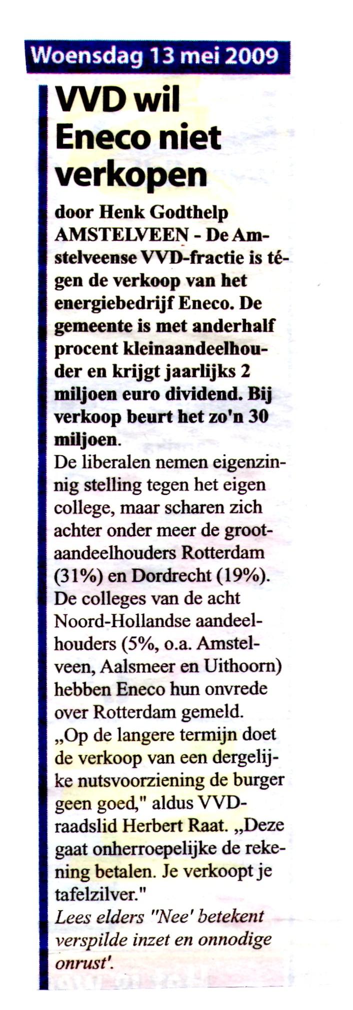 2009- gemeente wil het tafelzilver verkopen de aandelen Eneco (2)