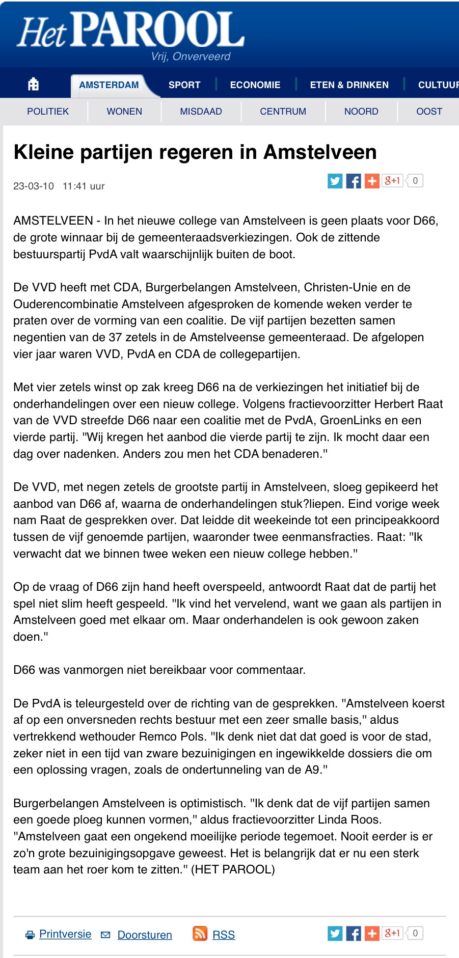 2010-het parool: herbert raat over college onderhandelingen  Amstelveen