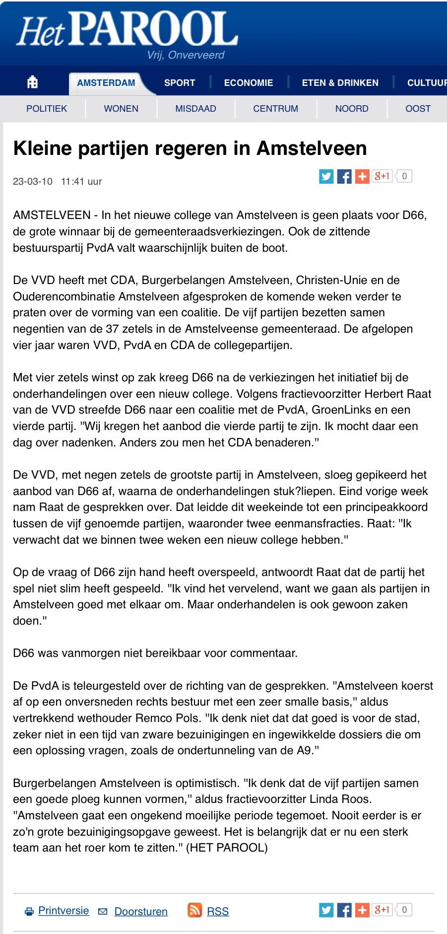 2010-het parool over formatie Amstelveen