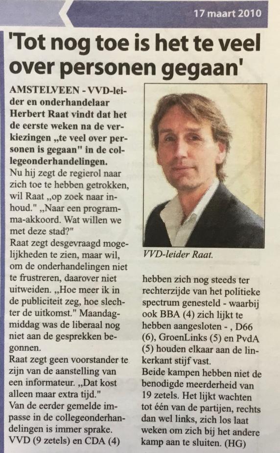2010-17-3: Amstelveens Nieuwsblad; herbert Raat over de collegevorming in Amstelveen