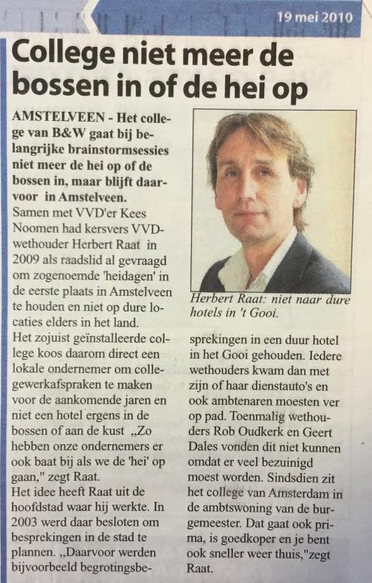 2010-19-5; Amstelveens Nieuwsblad; Herbert Raat over heidag college van B&W Amstelveen