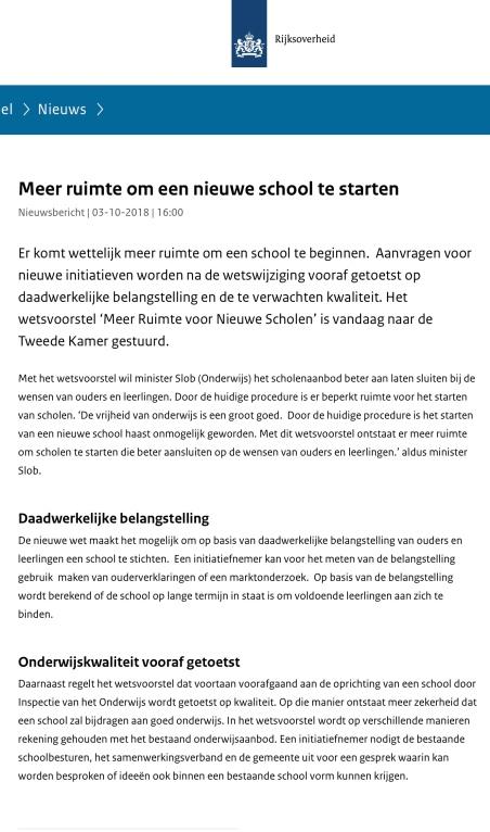 2018-Persbericht ministerie om ouders een grotere rol te geven bij stichten school