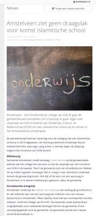 2020-20-2: AmstelveenZ; Herbert Raat over afwijzen aanvraag islamitisch onderwijs in Amstelveen 1 van 2