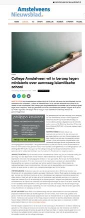 2020-20-2: Amstelveens Nieuwsblad; Herbert Raat over afwijzen aanvraag stichting islamitisch onderwijs Noord-Holland in Amstelveen