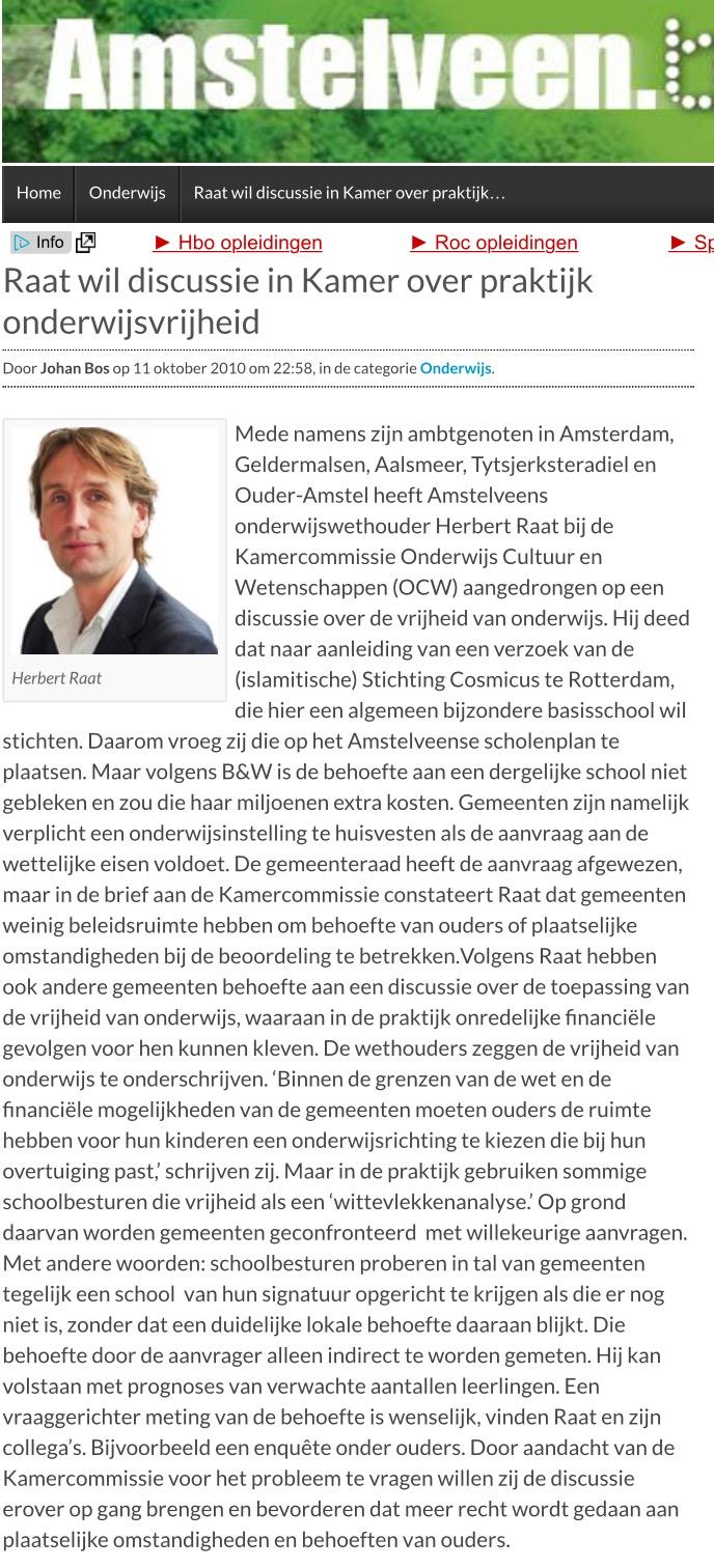 2010-Oktober AmstelveenBlog.nl over onderwijsvrijheid en rol ouders
