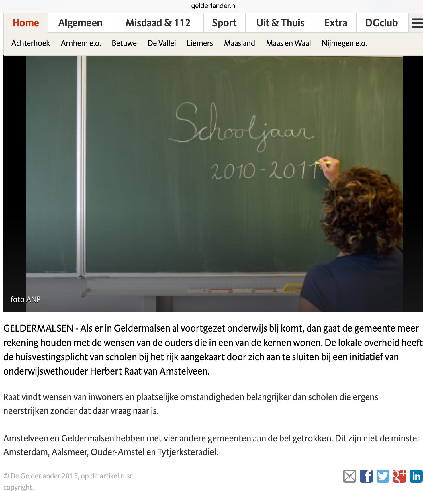 2015-De Gelderlander over meer zeggenschap ouders bij stichten school