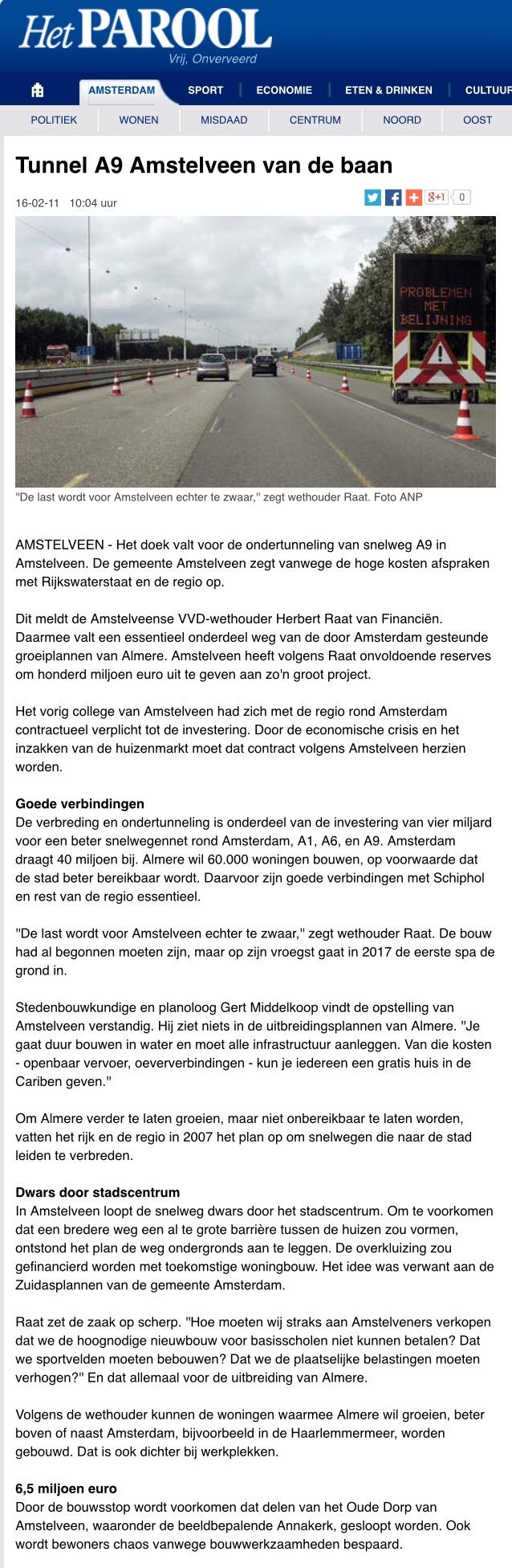 2011-16-2 Het Parool: wethouder Herbert Raat over tunnel A9 Amstelveen