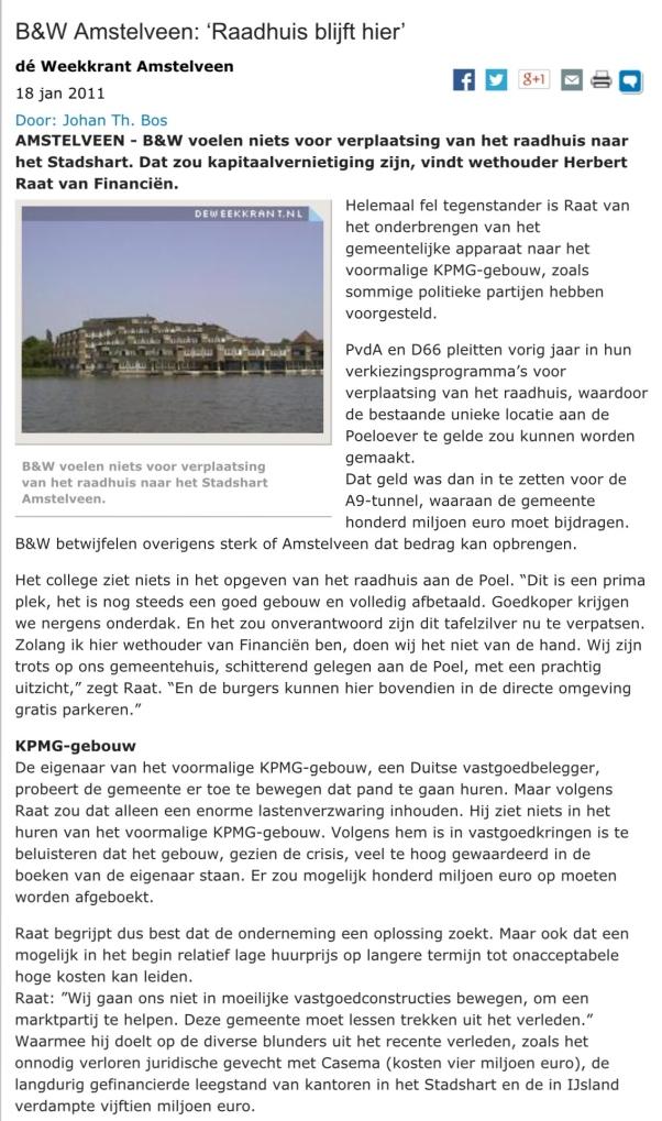 2011-18-1 De 2011-18-1 De Weekkrant raadhuis Amstelveen Herbert Raat