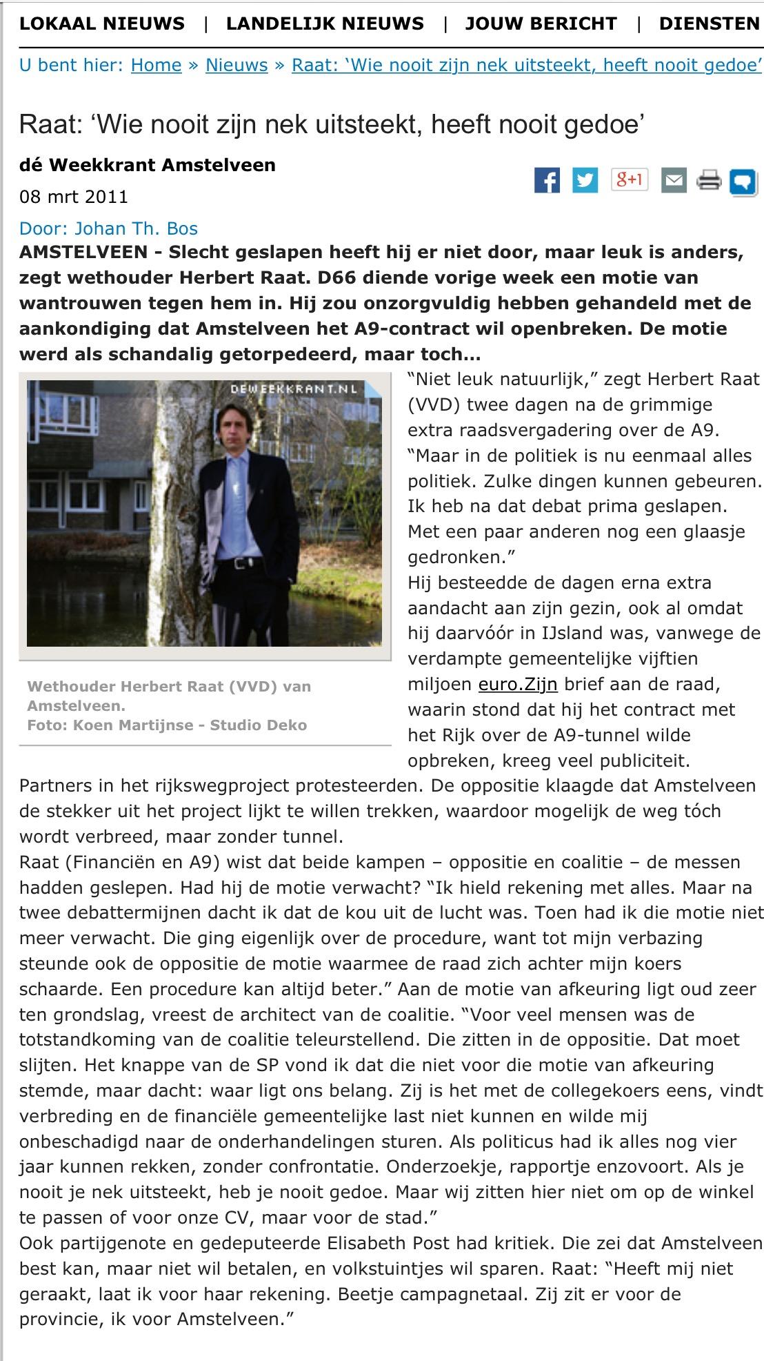 2011-8 maart A9 de weekkrant motie van afkeuring herbert raat