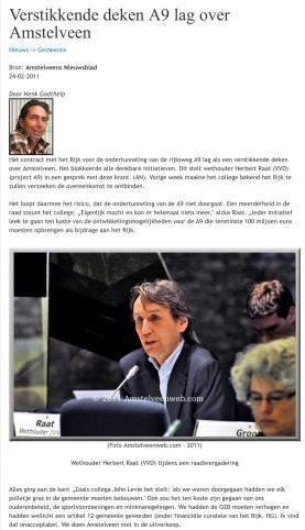 2011-11-2 Amstelveens Nieuwsblad Journalist Henk Godthelp over Herbert Raat en A9 1 van 2 via Amstelveenweb.com