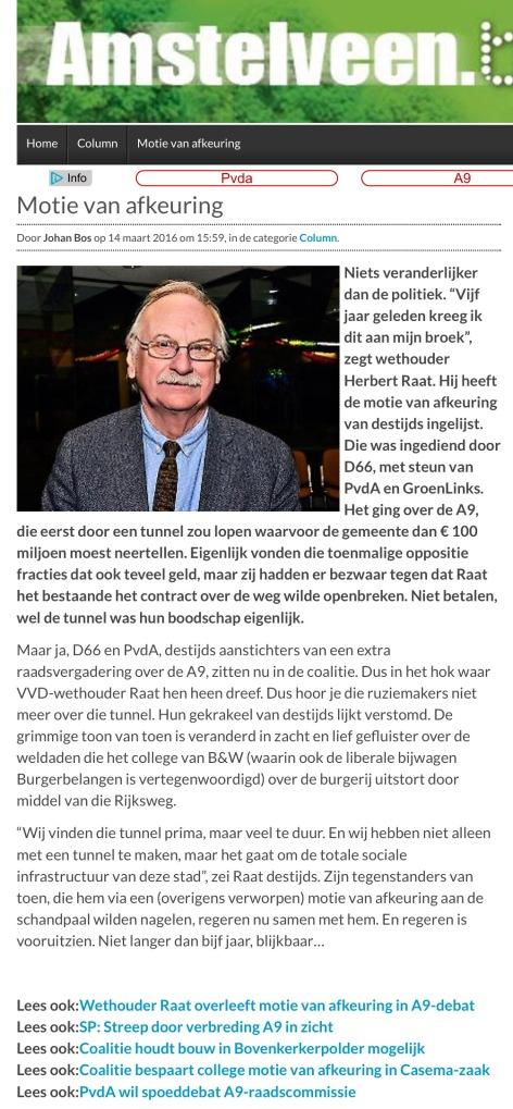 2016-14-3 Column Johan Bos over A9 en motie van afkeuring van Links tegen Herbert Raat Amstelveen op AmstelveenBlog.nl