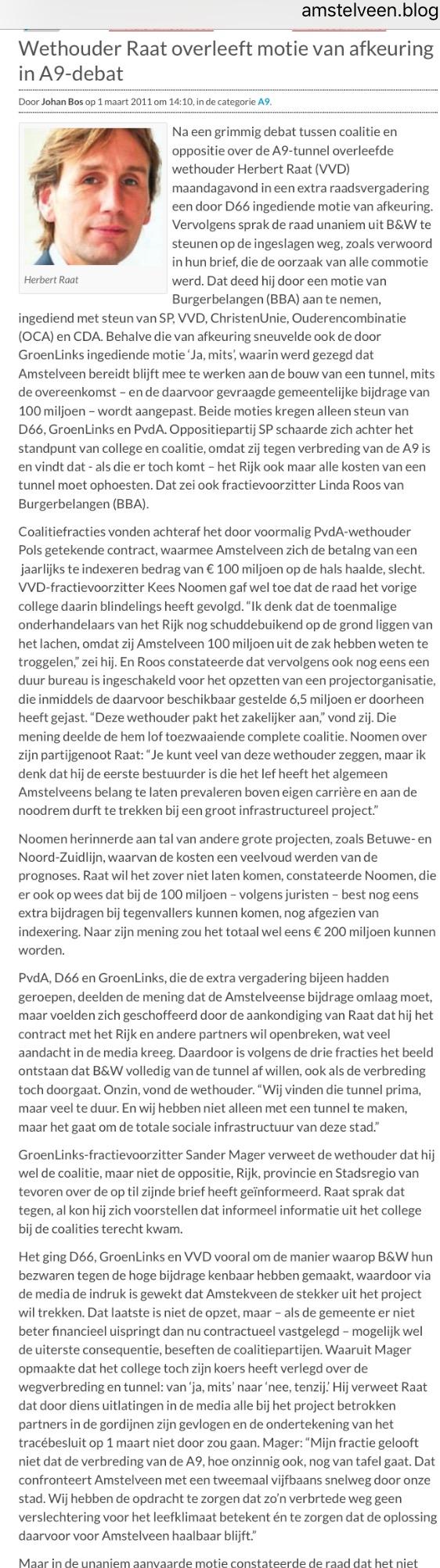 2011-1 maart Amstelveenblog.nl verslag raadsvergadering A9