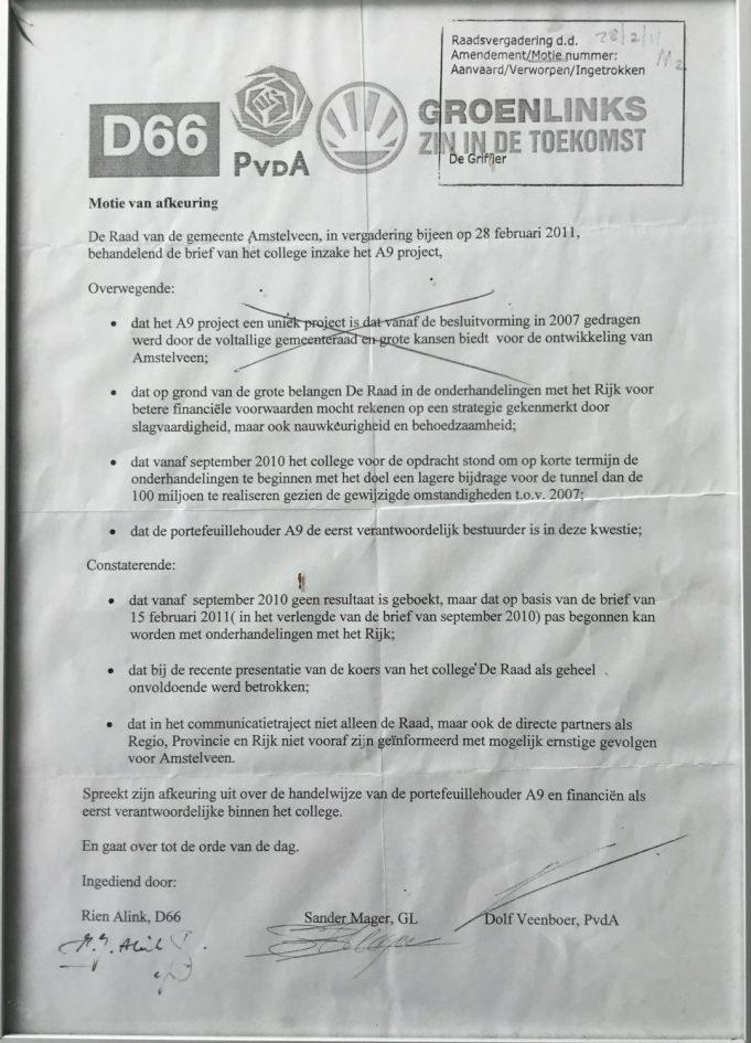 2011-Verworpen motie over A9 tegen wethouder Herbert Raat van D66, groenLinks en PvdA Amstelveen