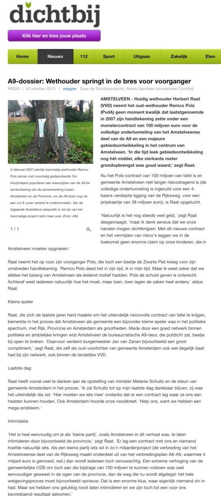 2013-2-10 AmstelveenDichtbij Wethouder Herbert Raat springt in de bres voor Remco Pols