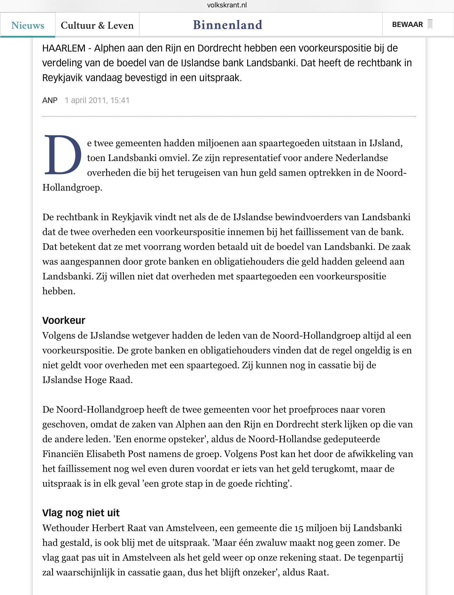 2011-1-4 De Volkskrant: Herbert Raat over Landsbanki Amstelveen