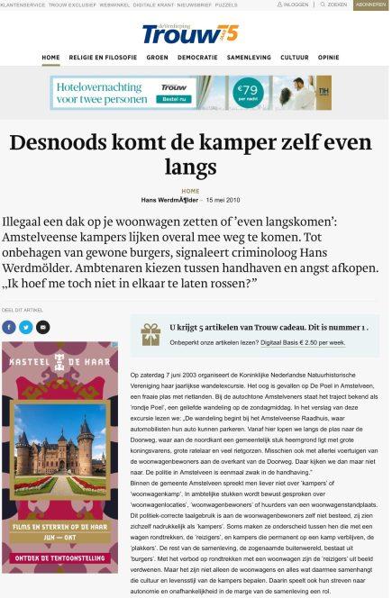 2010-15-5 Trouw Hans Werdmolder over woonwagens Amstelveen 1 van 6