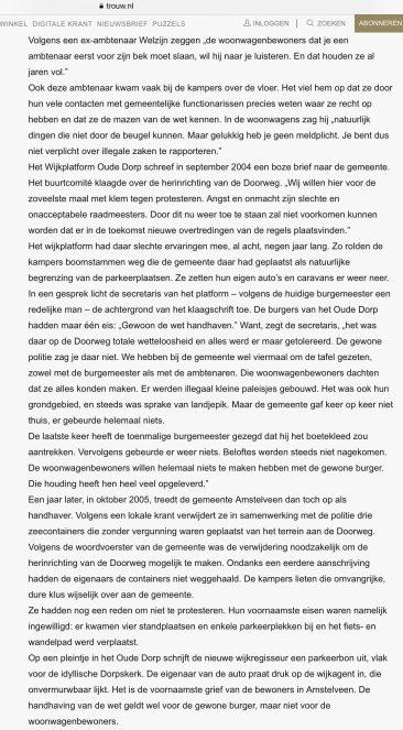 2010-15-5 Trouw Hans Werdmolder over woonwagens Amstelveen 3 van 6
