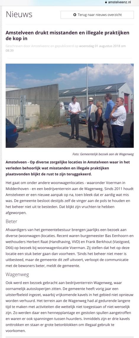2018-1-8 Amstelveens over bezoek burgemeester Bas Eenhoorn en wethouders Herbert Raat en Frank Berkhout aan de woonwagenlocaties