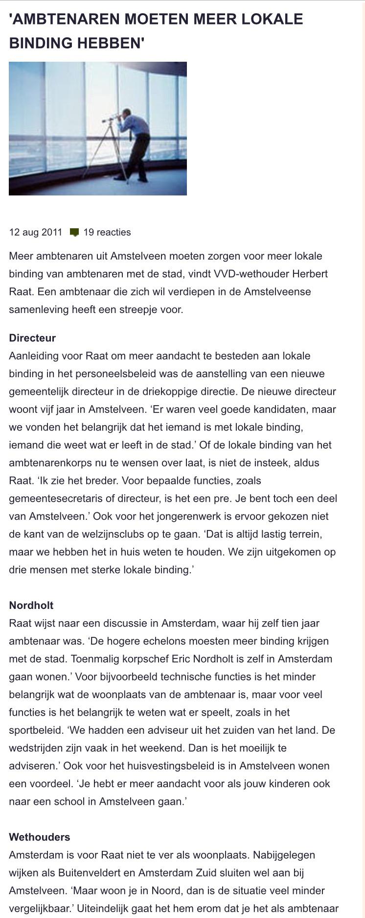 2011-12-8 Binnenlands Bestuur wethouder Herbert Raat over lokale binding ambtenaren