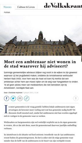 2013 De Volkskrant Herbert Raat over lokale binding ambtenaren 1 van 2