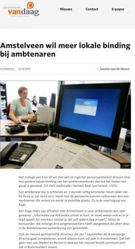 2011-11-8 Herbert Raat in het Amstelveens Nieuwsblad over lokale binding ambtenaren 1 van 2