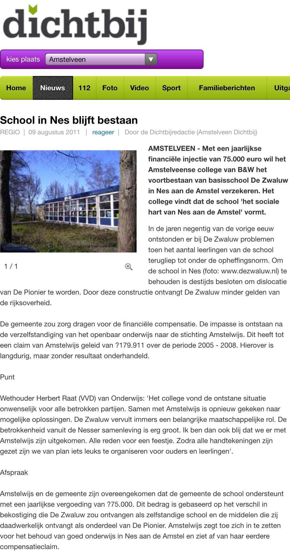 2011-9-12 AmstelveenDichtbij: Herbert Raat over steun voor Basisschool De Zwaluw in Nes aan de Amstel