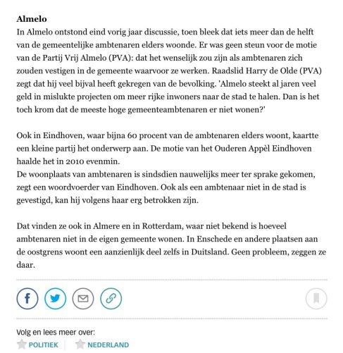 2013 De Volkskrant over lokale binding ambtenaren 2 van 2