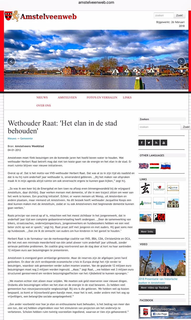 2012-Interview Herbert Raat Amstelveens Weekblad i van 2