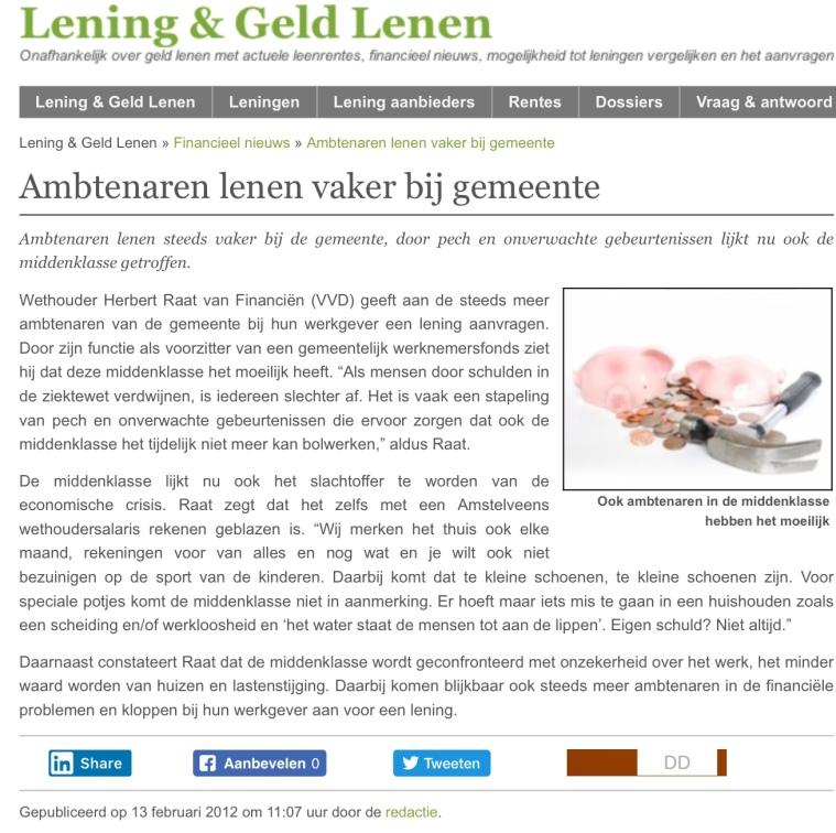 2012-lening en geld; wethouder Herbert Raat over problemen van de middenklasse