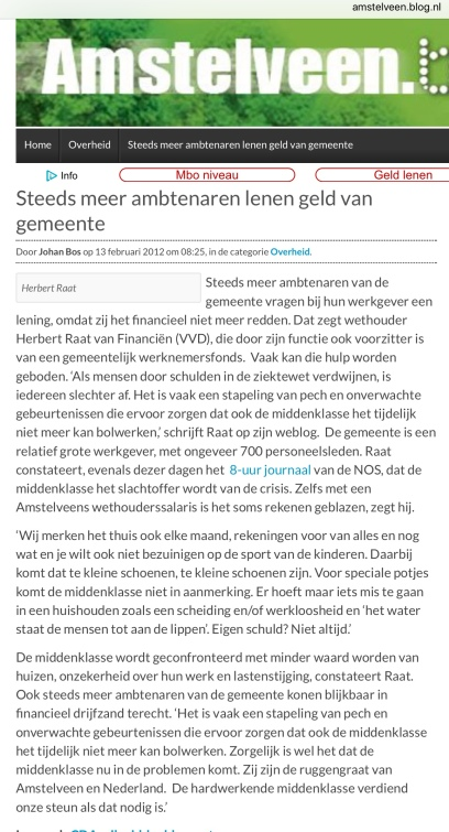 2012-13-2 Amstelveenblog.nl Herbert Raat over problemen van de middenklasse