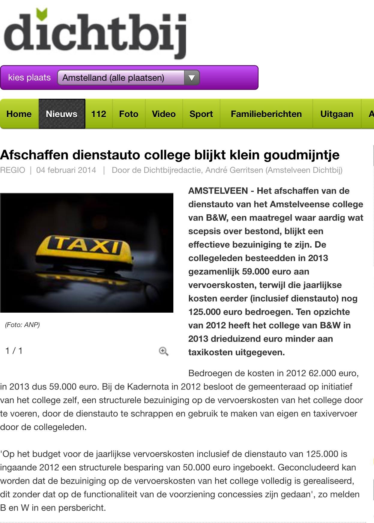 2014-4 feb afschaffen dienstauto dichtbij
