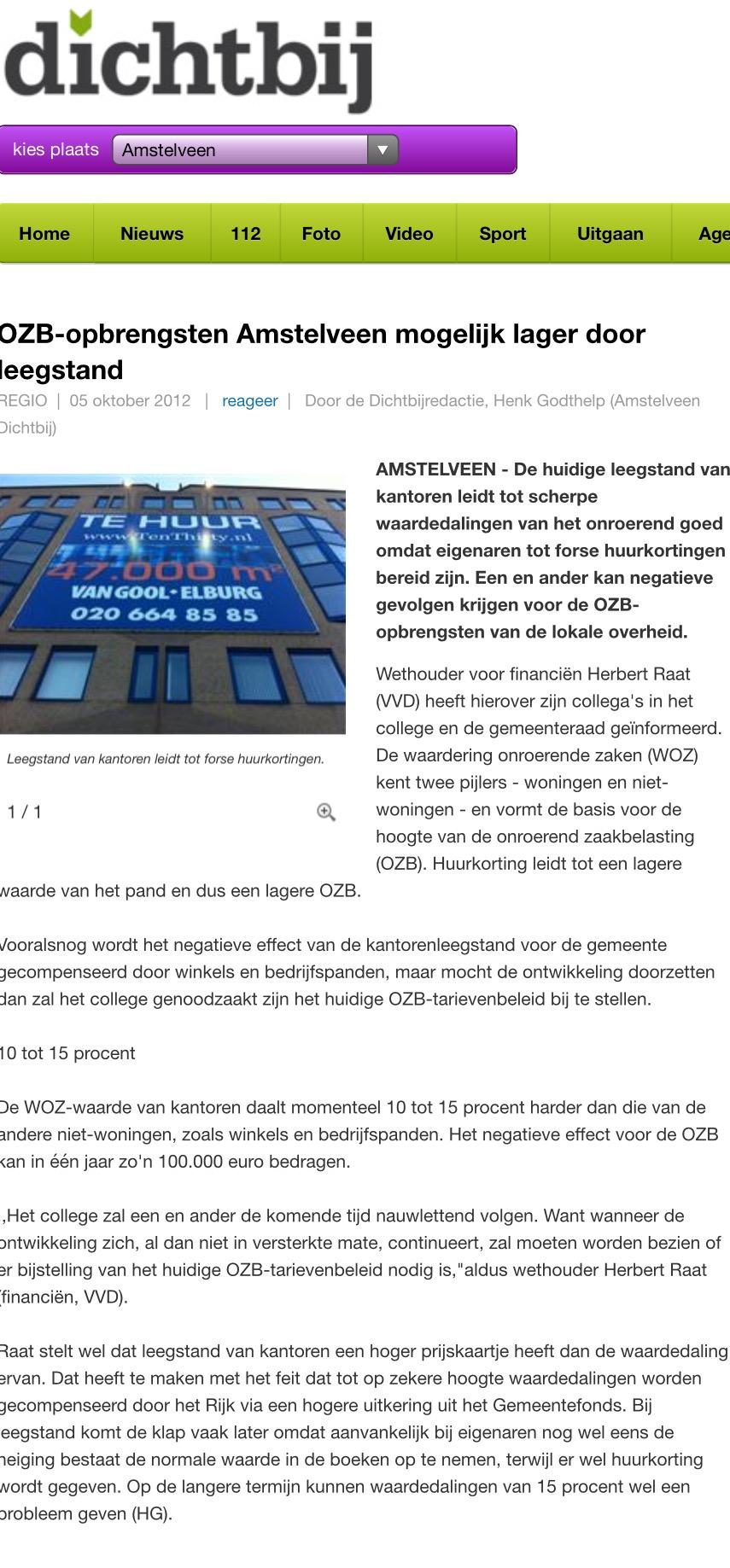 2012-5-10 AmstelveenDichtbij; Herbert Raat over lagere opbrengst OZB door leegstand kantoren en gevolgen.