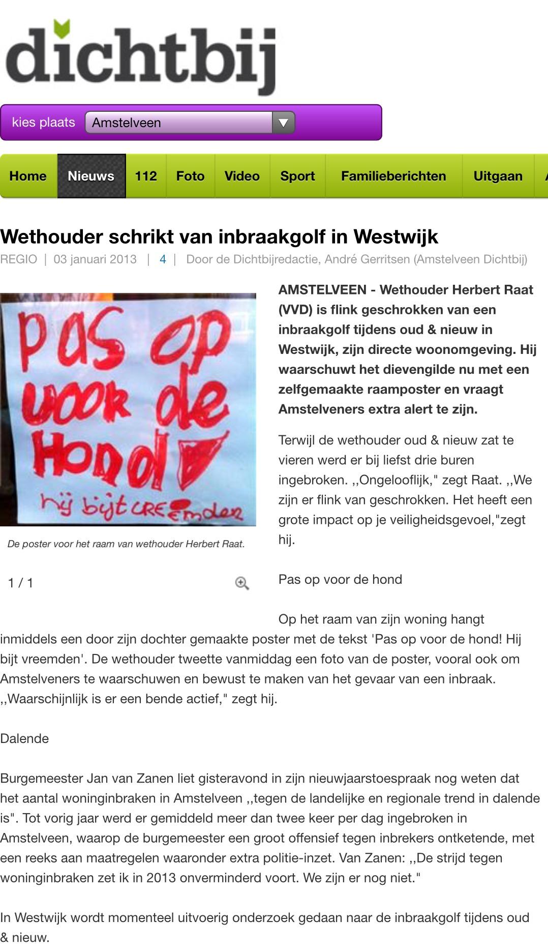 2013-3-1 AmstelveenDichtbij over inbraken in Westwijk bij buren wethouder Herbert Raat
