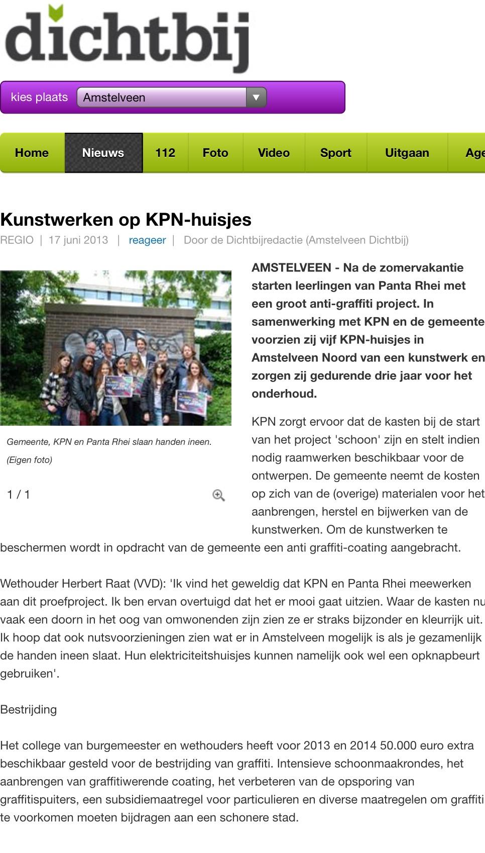 2013-17-6; Amstelveen Dichtbij; Herbert Raat over actie Panta Rhei, graffiti kunst in Amstelveen