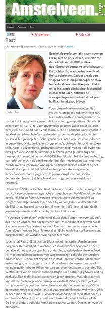 2016-1 september column Johan Bos over wethouder Herbert Raat op Amstelveenblog.nl