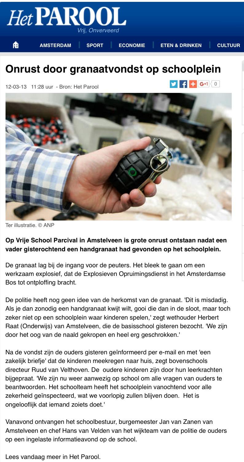 2013-12-3 Het Parool handgranaat Parcival Amstelveen Herbert Raat