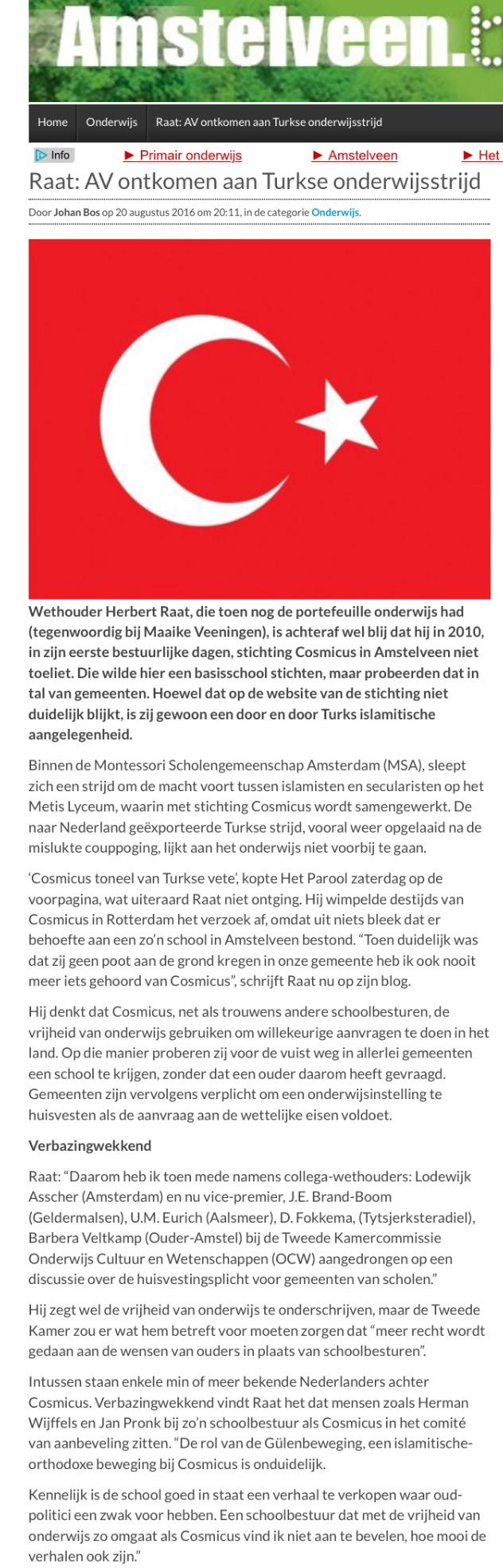 2016-20 augustus Amstelveenblog.nl: Herbert Raat over Cosmicus Amstelveen