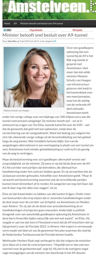 2013-9-4 Minister Melanie Schultz over A9 Amstelveen