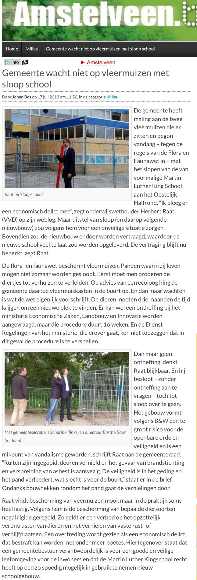 2013-17-3; Amstelveenblog.nl; over waarom Herbert Raat school sloopt ondanks vleermuizen