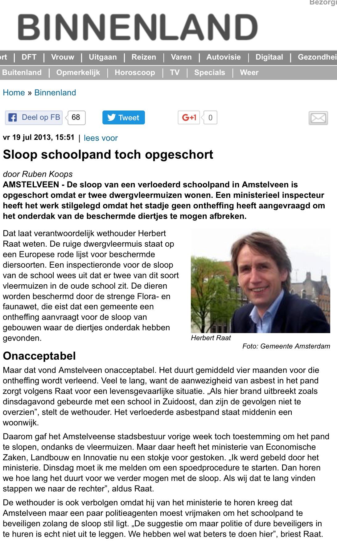 2013-9-7 Telegraaf over vleermuizen Amstelveen