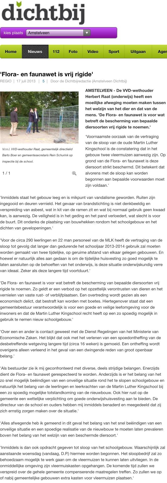 2013-17-3; AmstelveenDichbij.nl: over waarom wethouder Herbert Raat belang van kinderen boven vleermuizen stelt.