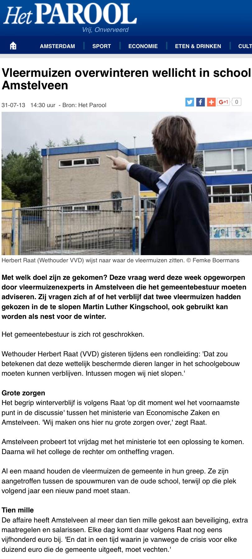 2013-31-7 Het Parool over vleermuizen Amstelveen