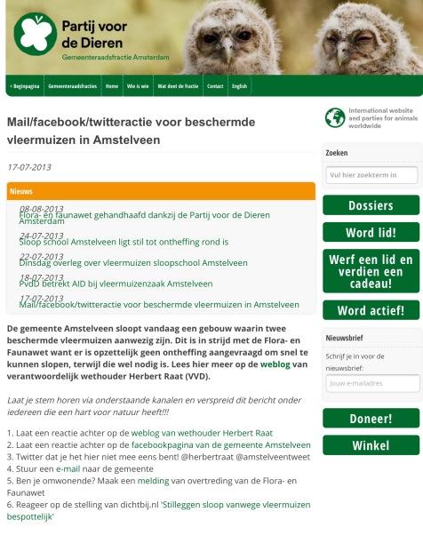 2013-17-3; Actie van de Parij van de Dieren tegen wethouder Herbert Raat omdat veiligheid van kinderen voorgaan in Amstelveen voor het belang van twee vleermuizen