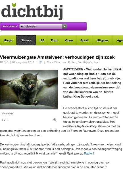 2013-1-8; AmstelveenDichtbij.nl: Herbert Raat over vleermuizen en het algemeen belang