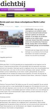 2014-7-2; AmstelveenDichtbij: Herbert Raat over de eerste paal voor Maarten Luther King-school, nu bekend onder naam Kindercampus King School