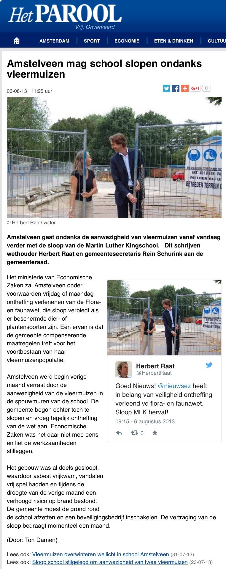 2013-8-6 Het Parool; Herbert Raat vleermuizen Amstelveen