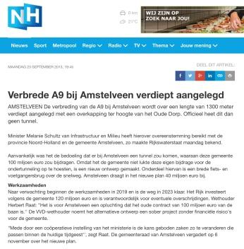 2013-23-9 RTVNH over verdiepte aanleg A9 Amstelveen