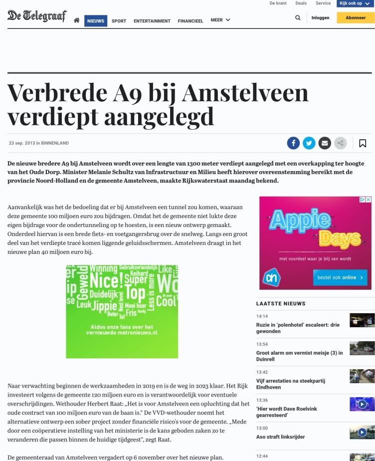 2013-23-9 De Telegraaf over verdiepte aanleg A9
