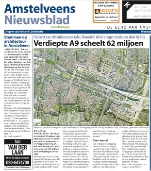 2103-25-9 Amstelveens Nieuwsblad over Verdiepte aanleg A9 pagina 1